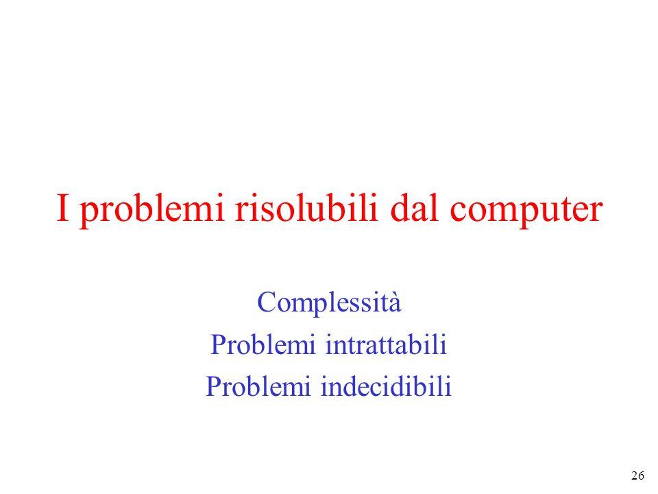 26 I problemi risolubili dal computer Complessità Problemi intrattabili Problemi indecidibili