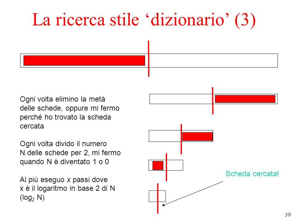 39 La ricerca stile dizionario (3) Ogni volta elimino la metà delle schede, oppure mi fermo perché ho trovato la scheda cercata Ogni volta divido il numero N delle schede per 2, mi fermo quando N è diventato 1 o 0 Al più eseguo x passi dove x è il logaritmo in base 2 di N (log 2 N) Scheda cercata!