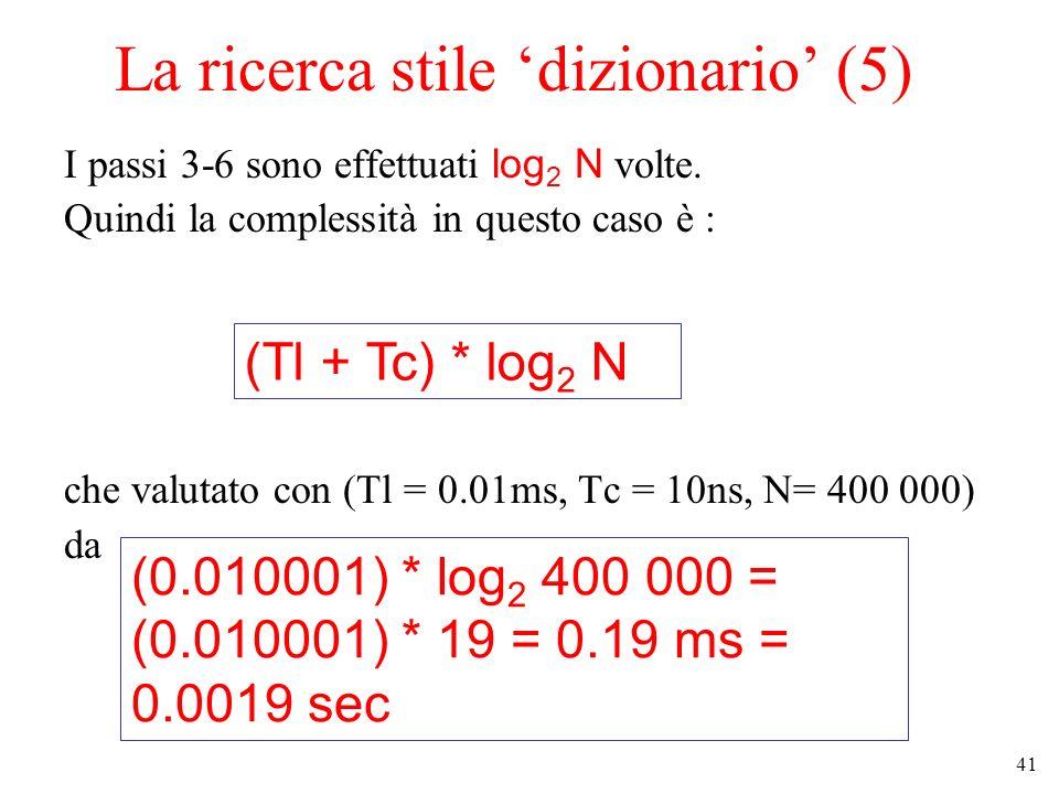 41 La ricerca stile dizionario (5) I passi 3-6 sono effettuati log 2 N volte. Quindi la complessità in questo caso è : che valutato con (Tl = 0.01ms,