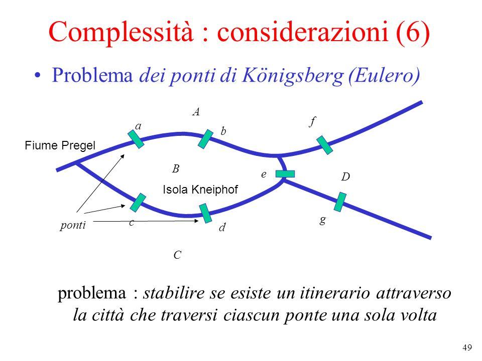 49 Complessità : considerazioni (6) Problema dei ponti di Königsberg (Eulero) problema : stabilire se esiste un itinerario attraverso la città che traversi ciascun ponte una sola volta Fiume Pregel Isola Kneiphof ponti A B C D a b c d e f g