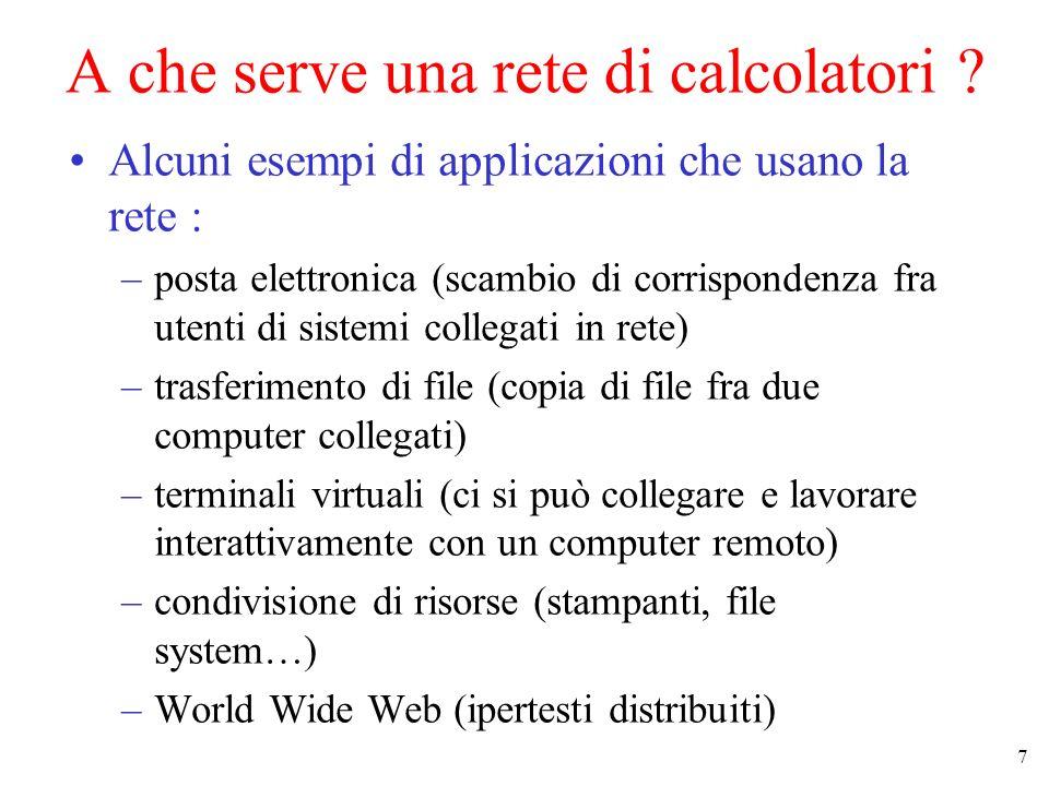 18 LInternet Protocol Suite (4) Collegamento fisico Livello network (IP) Livello trasporto (TCP/UDP) Insieme di protocolli che definisce come interagiscono le applicazioni.