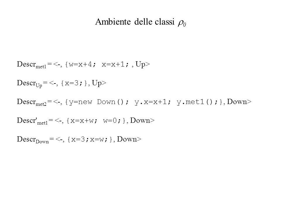 Descr met1 = Descr Up = Descr met2 = Descr' met1 = Descr Down = Ambiente delle classi 0