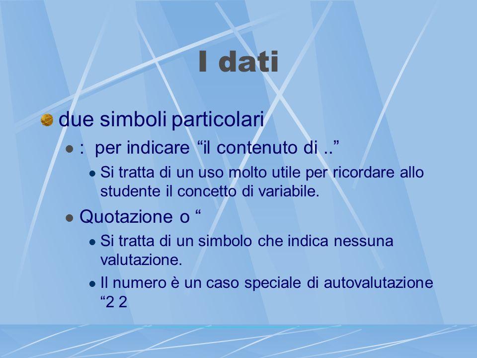 I dati due simboli particolari : per indicare il contenuto di..
