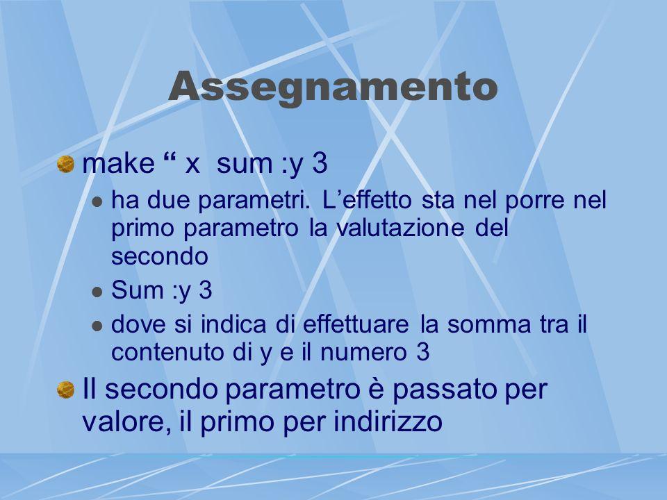 Assegnamento make x sum :y 3 ha due parametri.