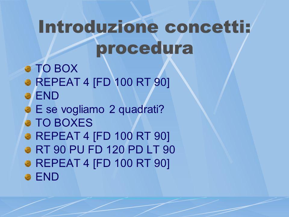 Introduzione concetti: procedura TO BOX REPEAT 4 [FD 100 RT 90] END E se vogliamo 2 quadrati.