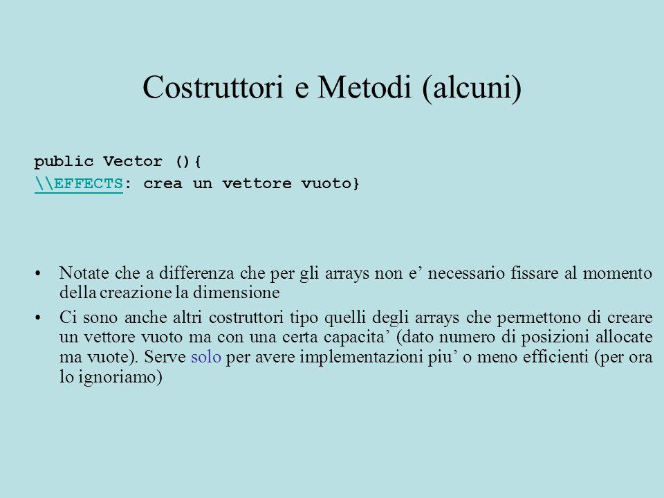 Costruttori e Metodi (alcuni) public Vector (){ \\EFFECTS\\EFFECTS: crea un vettore vuoto} Notate che a differenza che per gli arrays non e necessario