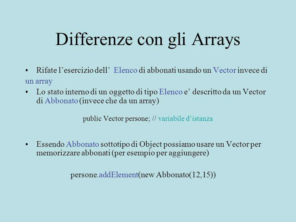 Differenze con gli Arrays Rifate lesercizio dell Elenco di abbonati usando un Vector invece di un array Lo stato interno di un oggetto di tipo Elenco