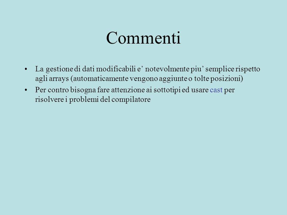 Commenti La gestione di dati modificabili e notevolmente piu semplice rispetto agli arrays (automaticamente vengono aggiunte o tolte posizioni) Per co
