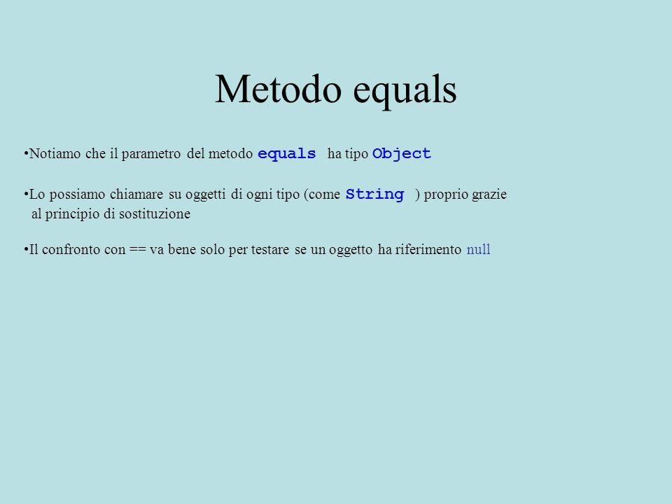 Metodo equals Notiamo che il parametro del metodo equals ha tipo Object Lo possiamo chiamare su oggetti di ogni tipo (come String ) proprio grazie al