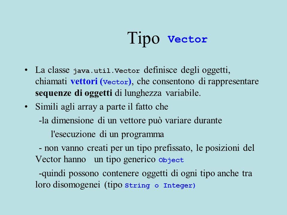 Classe Elenco 2 \\metodi public int cercanum(int s){ for (int j=0; j< persone.length;j++){ Abbonato a =(Abbonato) persone.elementAt(j); if (a.nome==s) {return a.num;}} return 0; } public void inserisci(int s){ persone.addElement(new Abbonato(s,numero)); numero=numero+1; } Quando leggiamo dal Vector dobbiamo fare il cast (anche se sappiamo che contiene oggetti di tipo Abbonato, il compilatore non lo puo sapere).