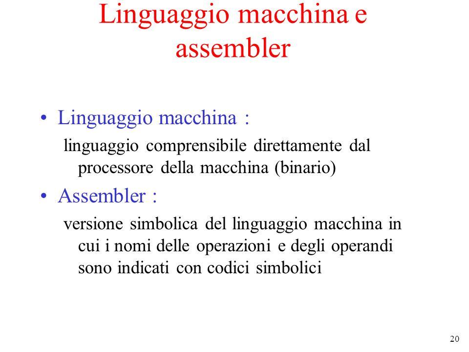 20 Linguaggio macchina e assembler Linguaggio macchina : linguaggio comprensibile direttamente dal processore della macchina (binario) Assembler : ver