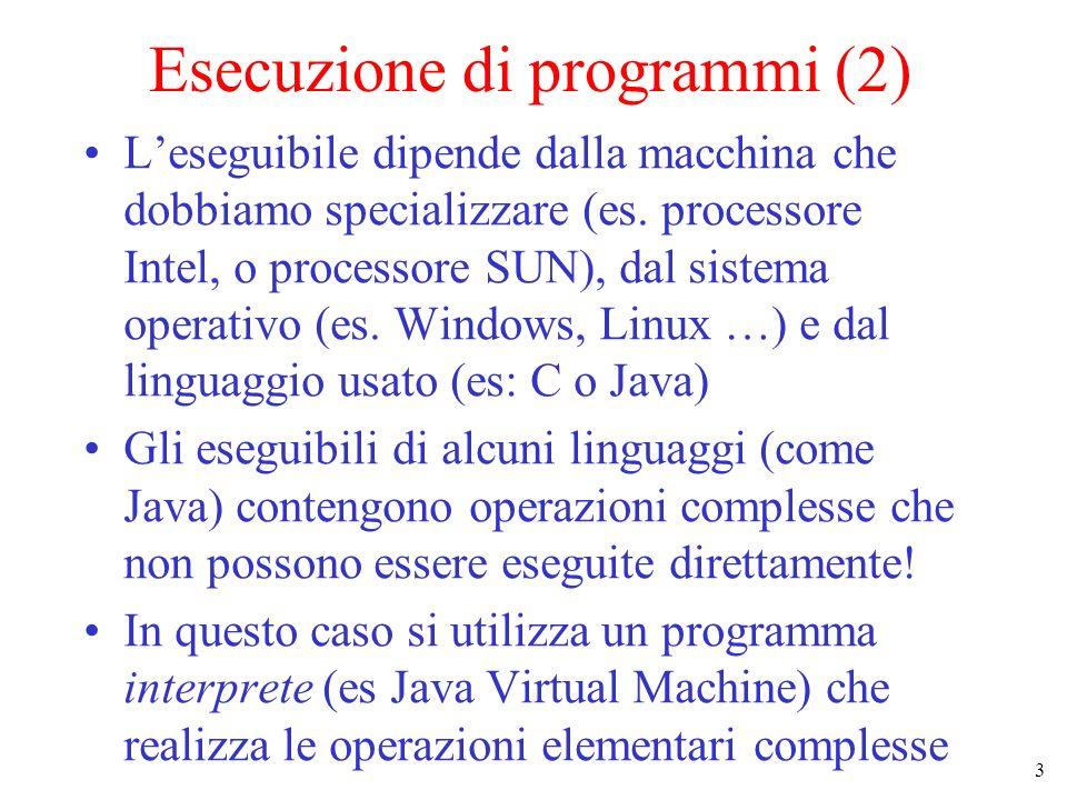 4 Esecuzione di programmi (3) Algoritmo Codifica in un linguaggio di programmazione Java-like Programma Compilatore Input : programma Output : rappresentazione di dati ed istruzioni elementari comprensibile allinterprete (es JVM) Eseguibile Effetto : esecuzione delle istruzioni elementari dellinterprete sulla macchina fisica Interprete Hardware