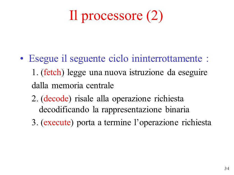 34 Il processore (2) Esegue il seguente ciclo ininterrottamente : 1. (fetch) legge una nuova istruzione da eseguire dalla memoria centrale 2. (decode)