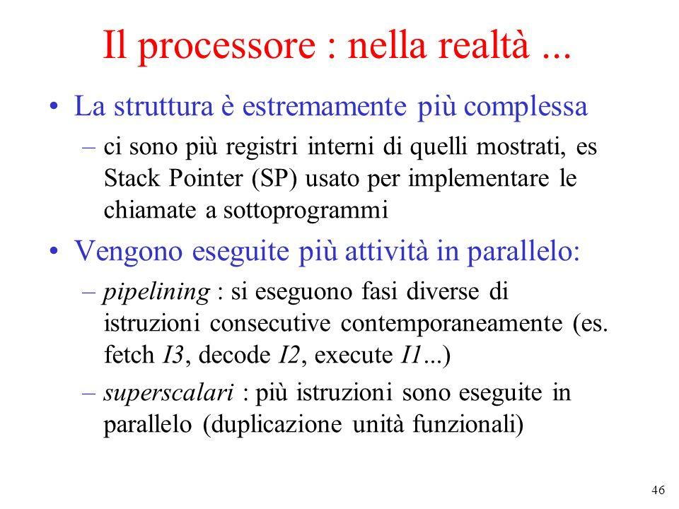 46 Il processore : nella realtà... La struttura è estremamente più complessa –ci sono più registri interni di quelli mostrati, es Stack Pointer (SP) u