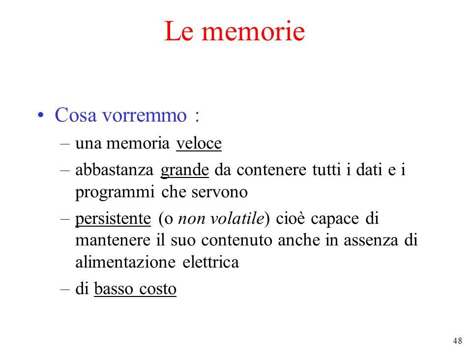 48 Le memorie Cosa vorremmo : –una memoria veloce –abbastanza grande da contenere tutti i dati e i programmi che servono –persistente (o non volatile)