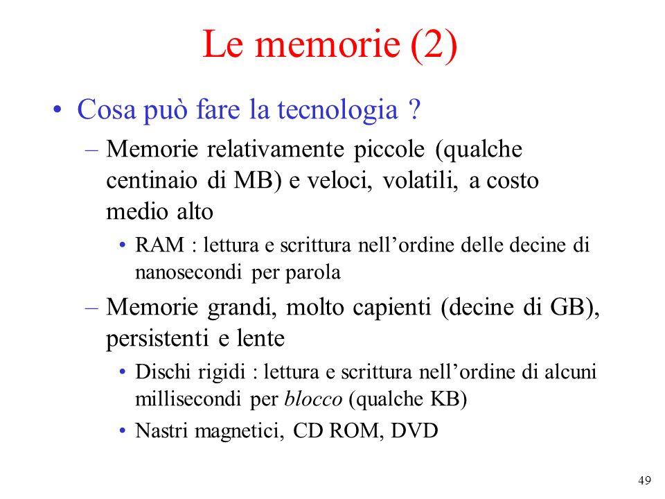 49 Le memorie (2) Cosa può fare la tecnologia ? –Memorie relativamente piccole (qualche centinaio di MB) e veloci, volatili, a costo medio alto RAM :
