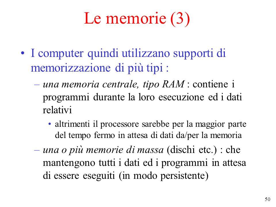 50 Le memorie (3) I computer quindi utilizzano supporti di memorizzazione di più tipi : –una memoria centrale, tipo RAM : contiene i programmi durante