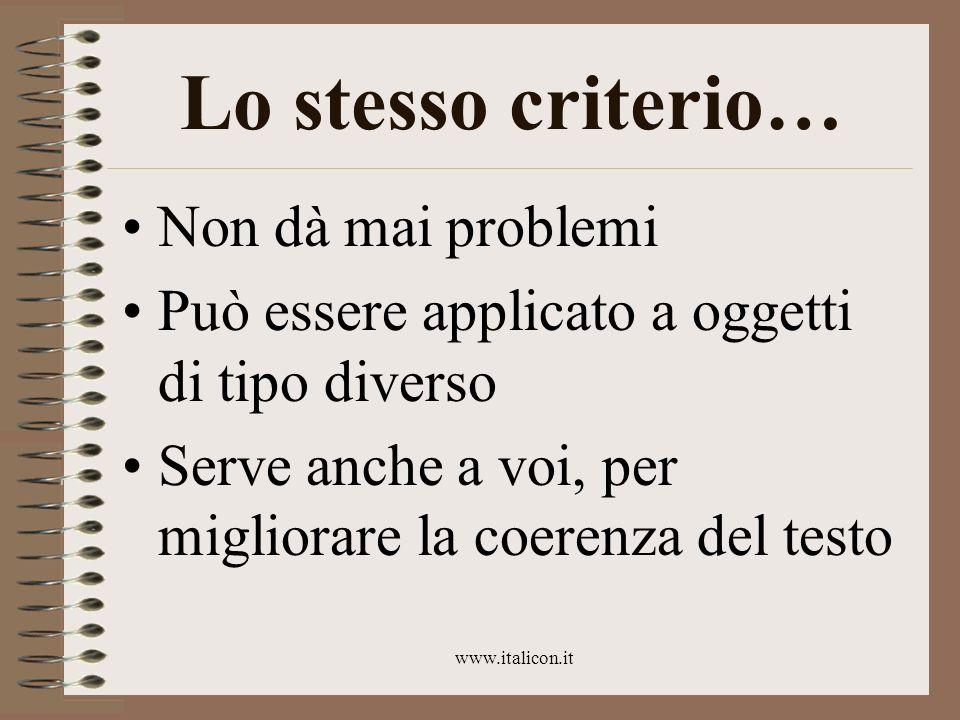 www.italicon.it Lo stesso criterio… Non dà mai problemi Può essere applicato a oggetti di tipo diverso Serve anche a voi, per migliorare la coerenza d