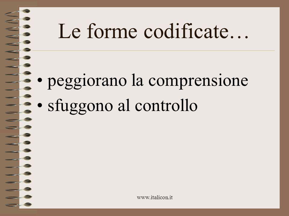 www.italicon.it Le forme codificate… peggiorano la comprensione sfuggono al controllo