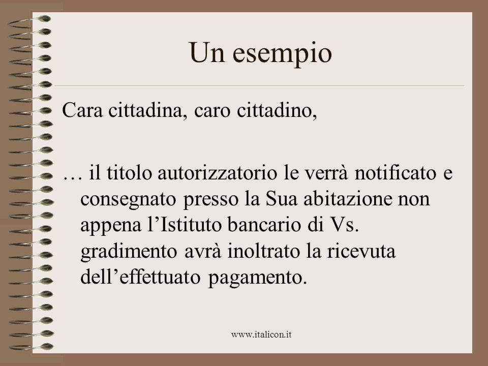 www.italicon.it Un esempio Cara cittadina, caro cittadino, … il titolo autorizzatorio le verrà notificato e consegnato presso la Sua abitazione non ap