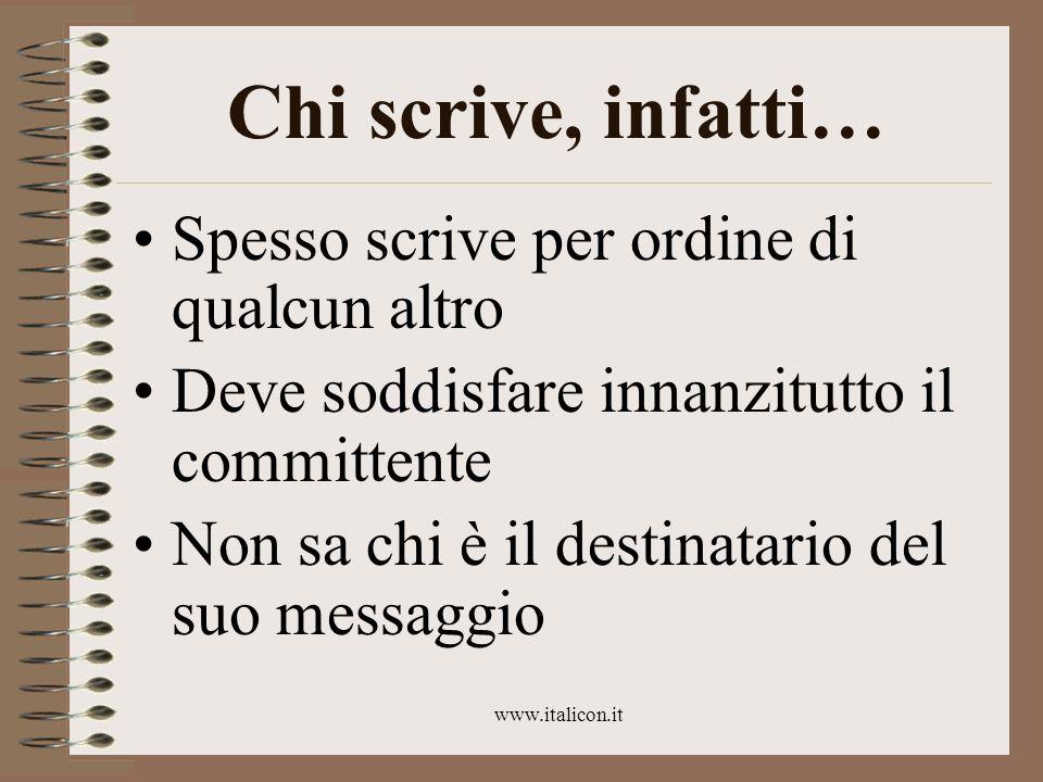 www.italicon.it Chi scrive, infatti… Spesso scrive per ordine di qualcun altro Deve soddisfare innanzitutto il committente Non sa chi è il destinatari