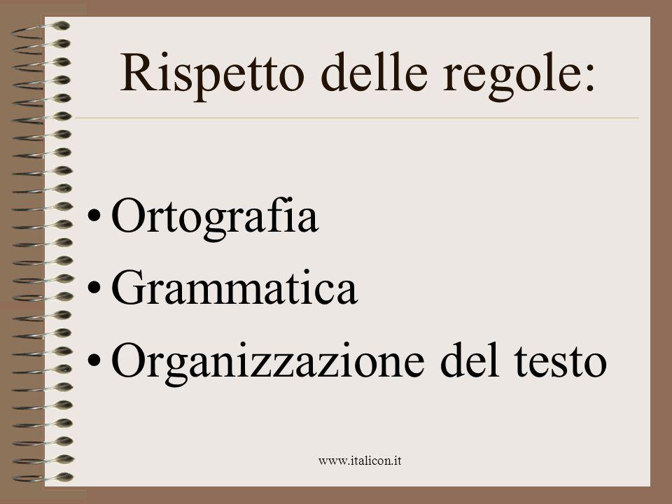 www.italicon.it Rispetto delle regole: Ortografia Grammatica Organizzazione del testo