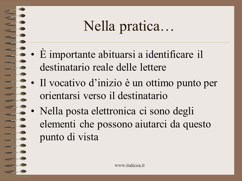 www.italicon.it Nella pratica… È importante abituarsi a identificare il destinatario reale delle lettere Il vocativo dinizio è un ottimo punto per ori
