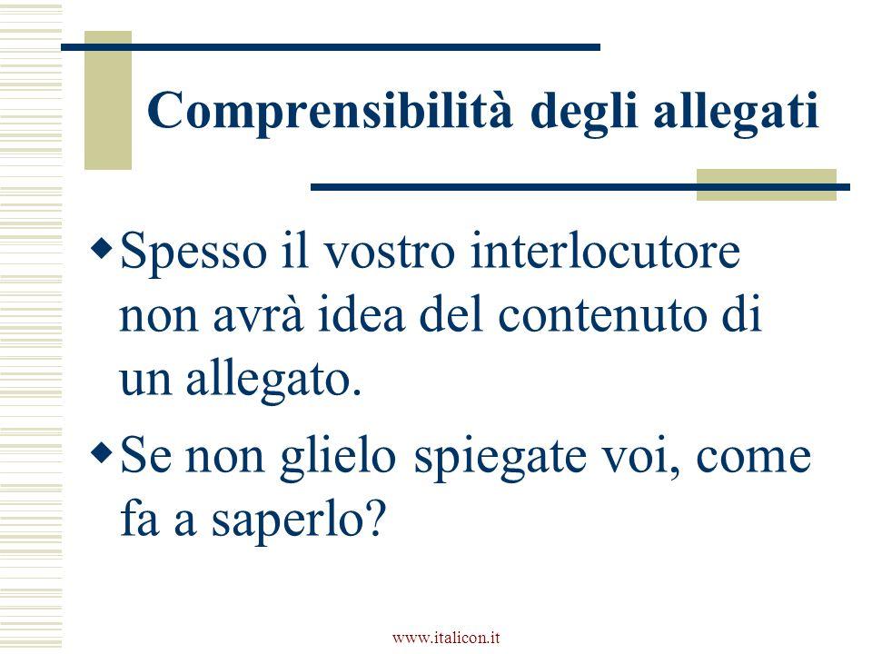 www.italicon.it Comprensibilità degli allegati Spesso il vostro interlocutore non avrà idea del contenuto di un allegato. Se non glielo spiegate voi,