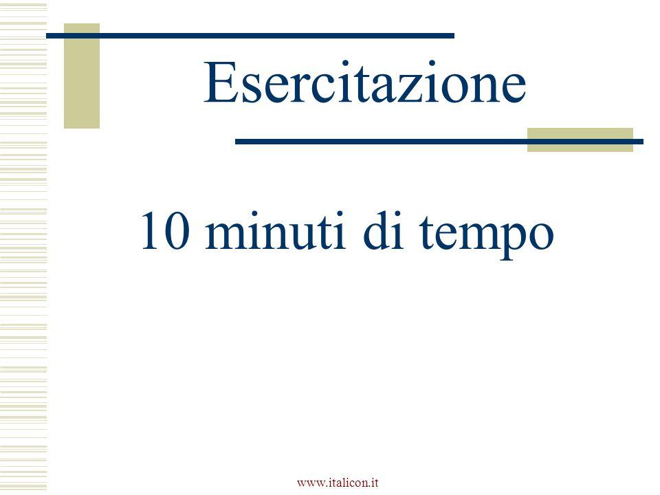 www.italicon.it Esercitazione 10 minuti di tempo