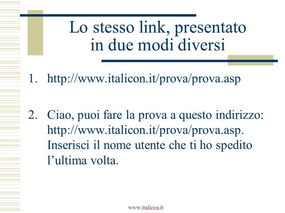 www.italicon.it Lo stesso link, presentato in due modi diversi 1.http://www.italicon.it/prova/prova.asp 2.Ciao, puoi fare la prova a questo indirizzo: http://www.italicon.it/prova/prova.asp.