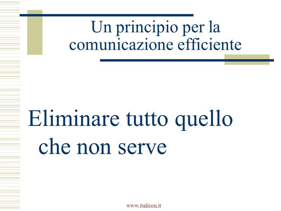 www.italicon.it Un principio per la comunicazione efficiente Eliminare tutto quello che non serve