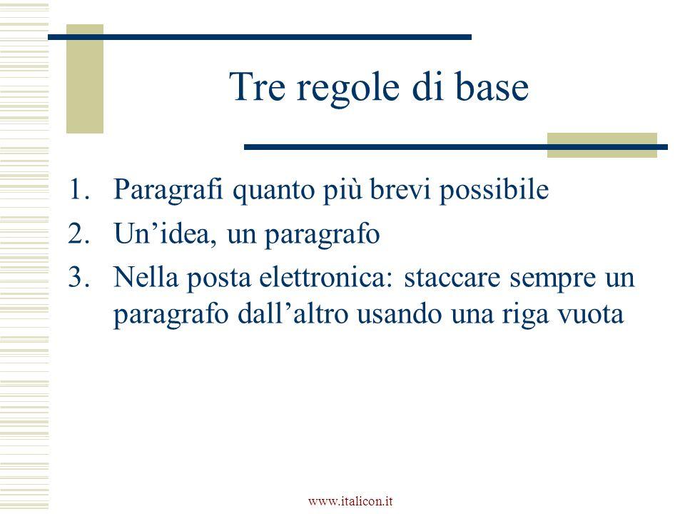 www.italicon.it Tre regole di base 1.Paragrafi quanto più brevi possibile 2.Unidea, un paragrafo 3.Nella posta elettronica: staccare sempre un paragrafo dallaltro usando una riga vuota