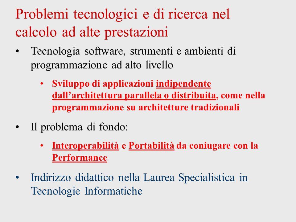 Problemi tecnologici e di ricerca nel calcolo ad alte prestazioni Tecnologia software, strumenti e ambienti di programmazione ad alto livello Sviluppo