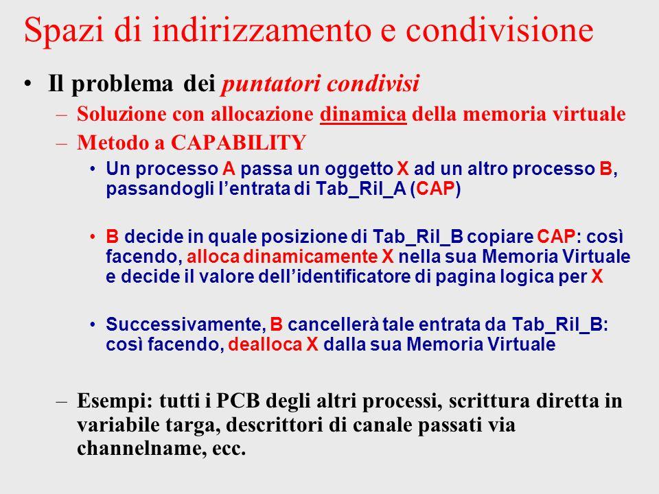 Spazi di indirizzamento e condivisione Il problema dei puntatori condivisi –Soluzione con allocazione dinamica della memoria virtuale –Metodo a CAPABILITY Un processo A passa un oggetto X ad un altro processo B, passandogli lentrata di Tab_Ril_A (CAP) B decide in quale posizione di Tab_Ril_B copiare CAP: così facendo, alloca dinamicamente X nella sua Memoria Virtuale e decide il valore dellidentificatore di pagina logica per X Successivamente, B cancellerà tale entrata da Tab_Ril_B: così facendo, dealloca X dalla sua Memoria Virtuale –Esempi: tutti i PCB degli altri processi, scrittura diretta in variabile targa, descrittori di canale passati via channelname, ecc.