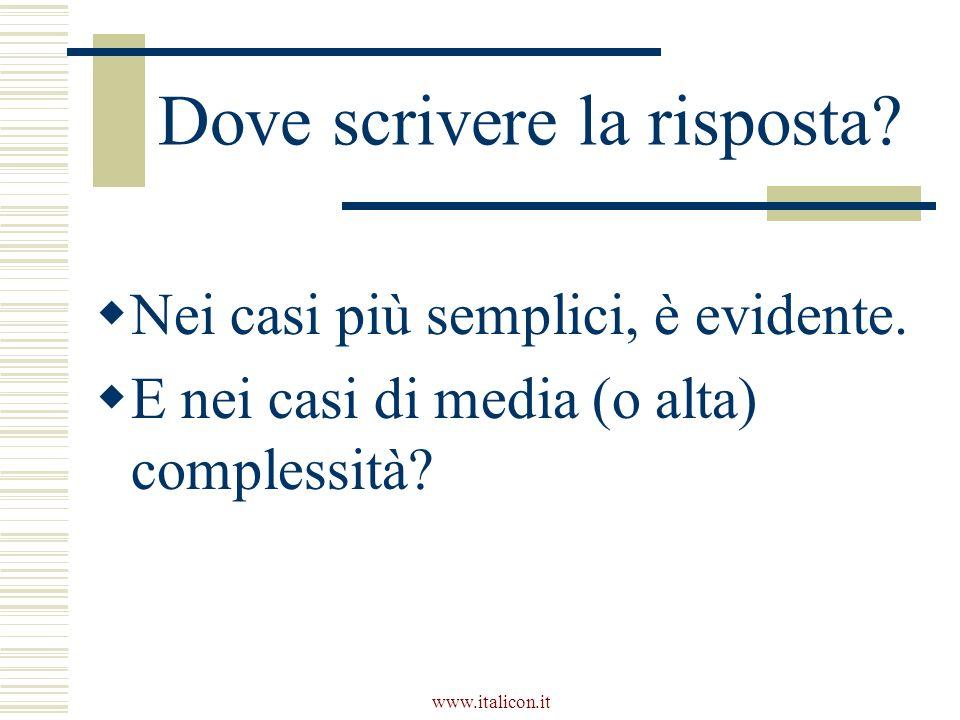 www.italicon.it Dove scrivere la risposta. Nei casi più semplici, è evidente.
