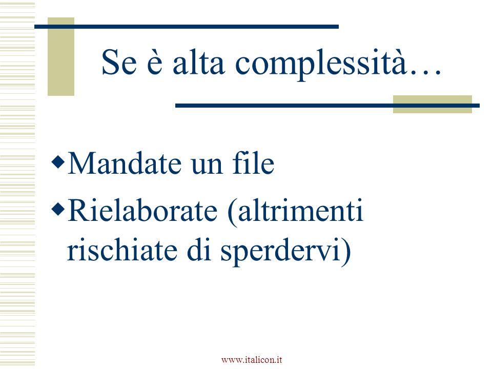 www.italicon.it Se è alta complessità… Mandate un file Rielaborate (altrimenti rischiate di sperdervi)