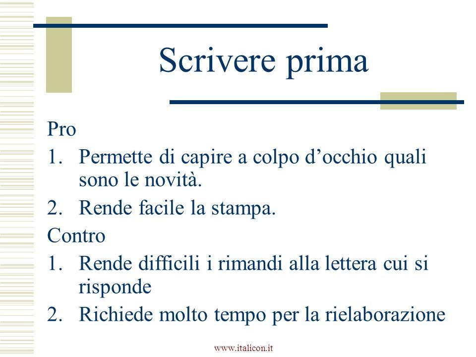 www.italicon.it Scrivere prima Pro 1.Permette di capire a colpo docchio quali sono le novità.