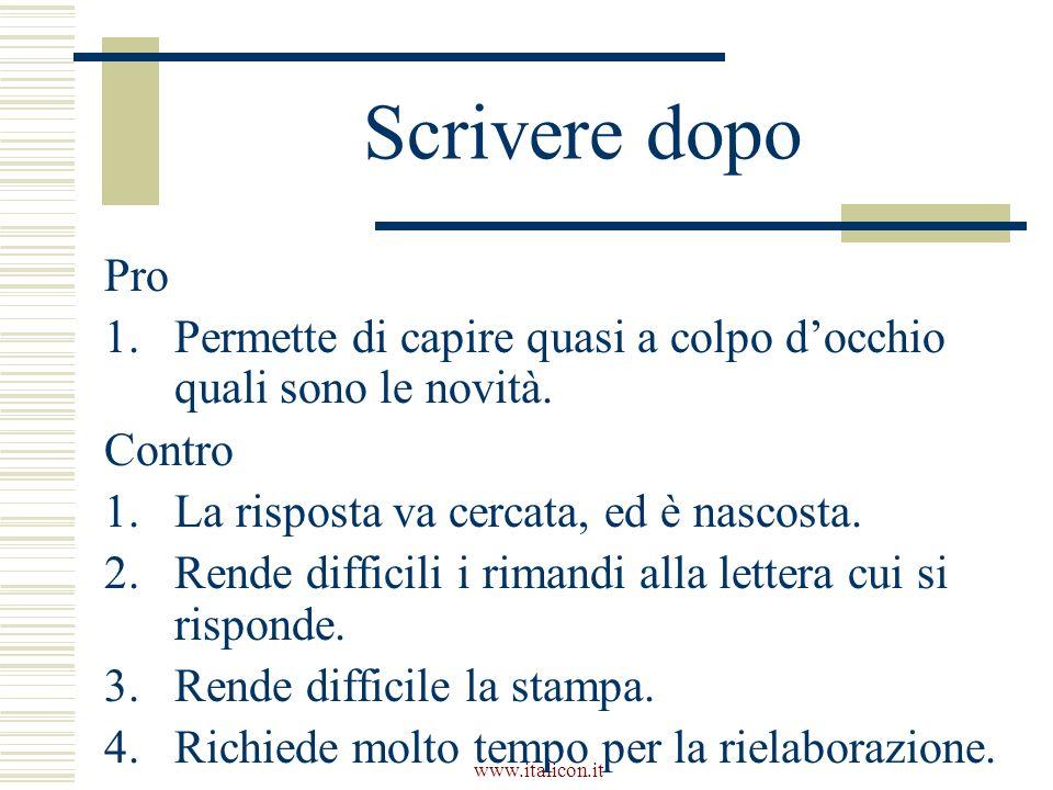 www.italicon.it Scrivere dopo Pro 1.Permette di capire quasi a colpo docchio quali sono le novità.
