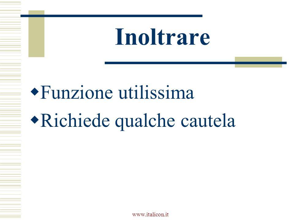 www.italicon.it Inoltrare Funzione utilissima Richiede qualche cautela
