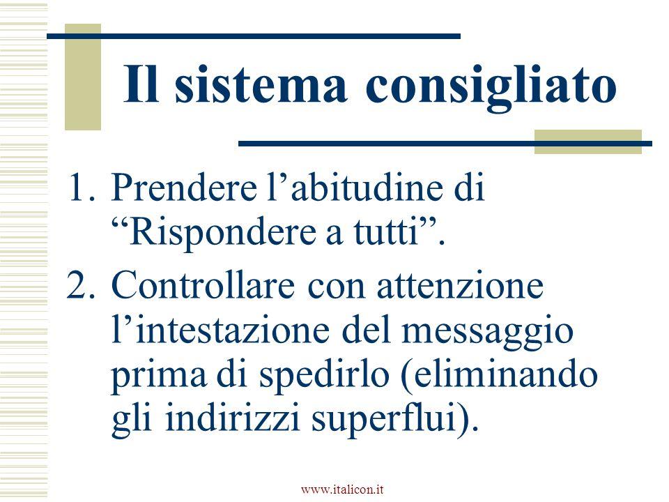 www.italicon.it Il sistema consigliato 1.Prendere labitudine di Rispondere a tutti.