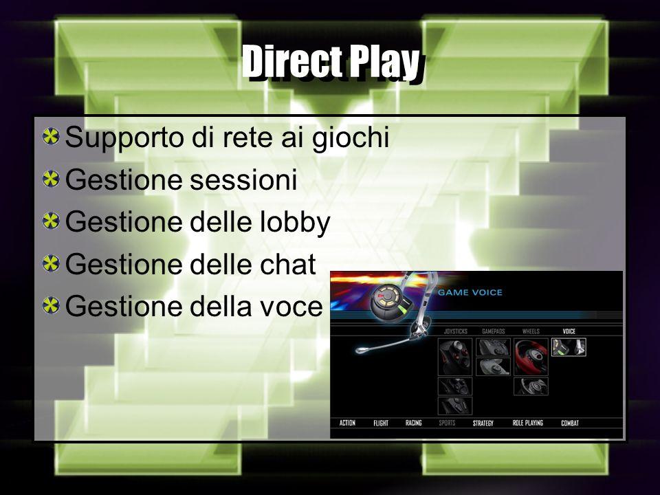 Direct Play Supporto di rete ai giochi Gestione sessioni Gestione delle lobby Gestione delle chat Gestione della voce