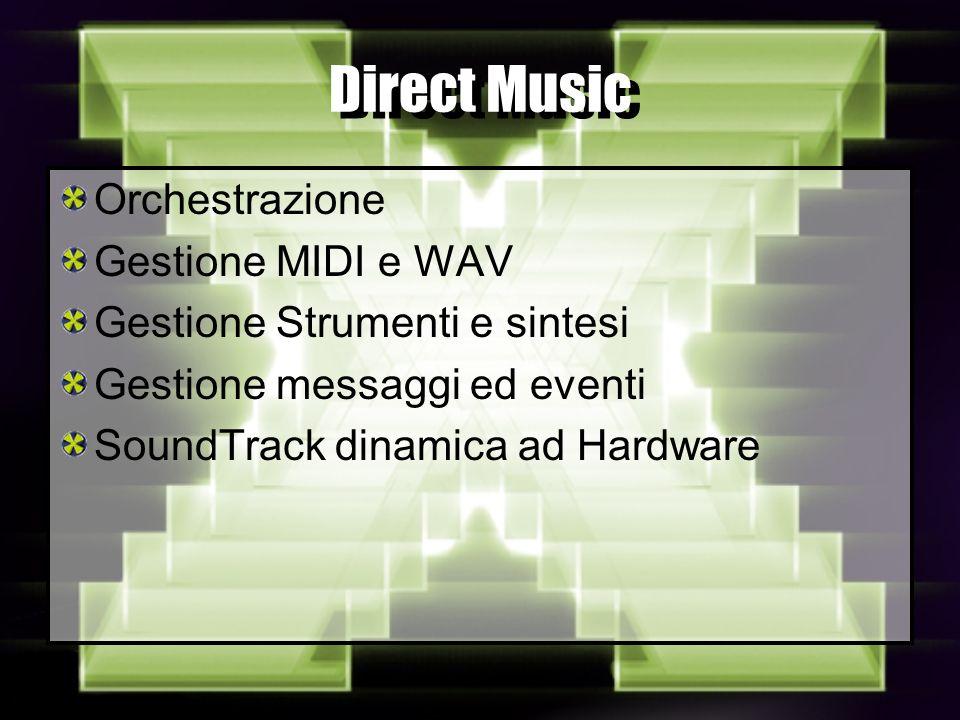 Direct Music Orchestrazione Gestione MIDI e WAV Gestione Strumenti e sintesi Gestione messaggi ed eventi SoundTrack dinamica ad Hardware