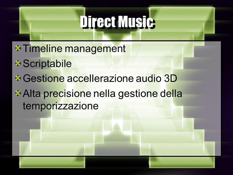Direct Music Timeline management Scriptabile Gestione accellerazione audio 3D Alta precisione nella gestione della temporizzazione