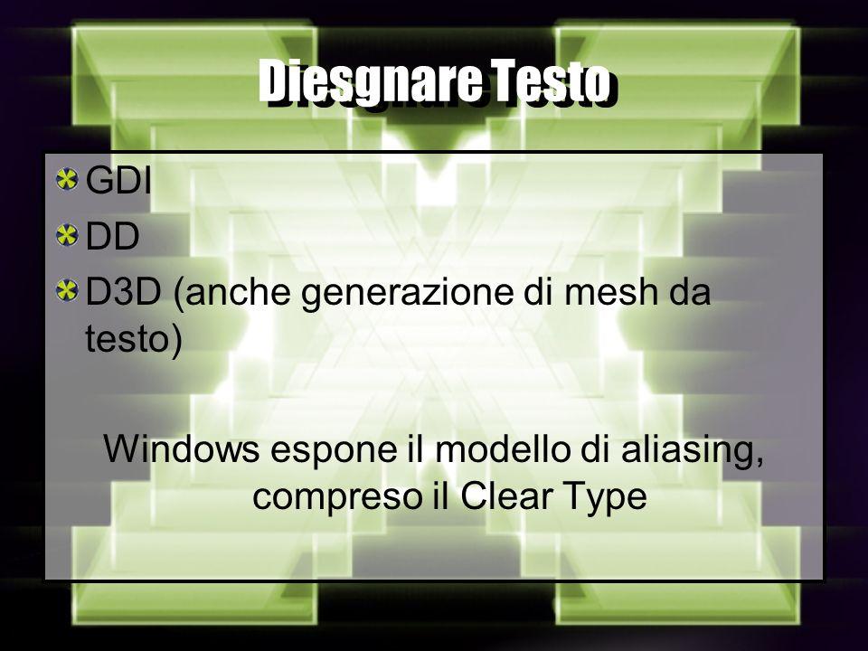 Diesgnare Testo GDI DD D3D (anche generazione di mesh da testo) Windows espone il modello di aliasing, compreso il Clear Type