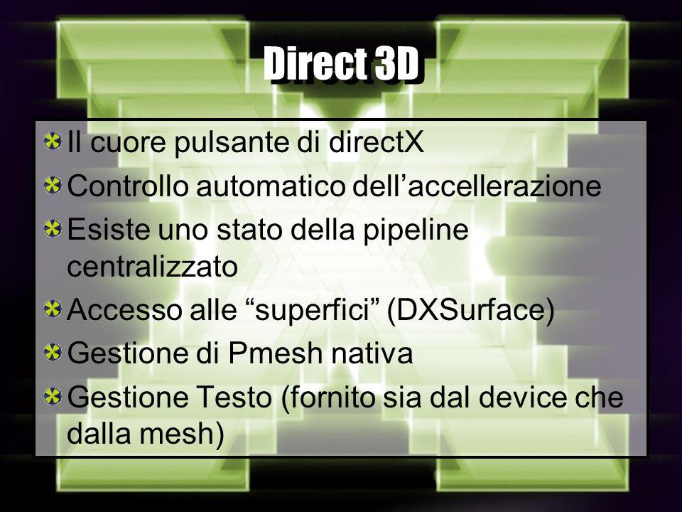 Direct 3D Il cuore pulsante di directX Controllo automatico dellaccellerazione Esiste uno stato della pipeline centralizzato Accesso alle superfici (DXSurface) Gestione di Pmesh nativa Gestione Testo (fornito sia dal device che dalla mesh)