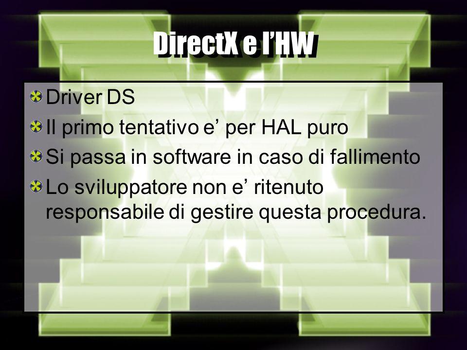 DirectX e lHW Driver DS Il primo tentativo e per HAL puro Si passa in software in caso di fallimento Lo sviluppatore non e ritenuto responsabile di gestire questa procedura.