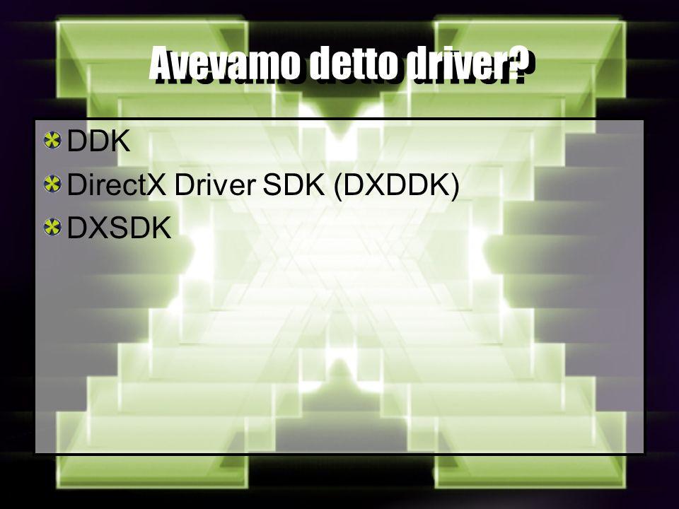 Avevamo detto driver DDK DirectX Driver SDK (DXDDK) DXSDK
