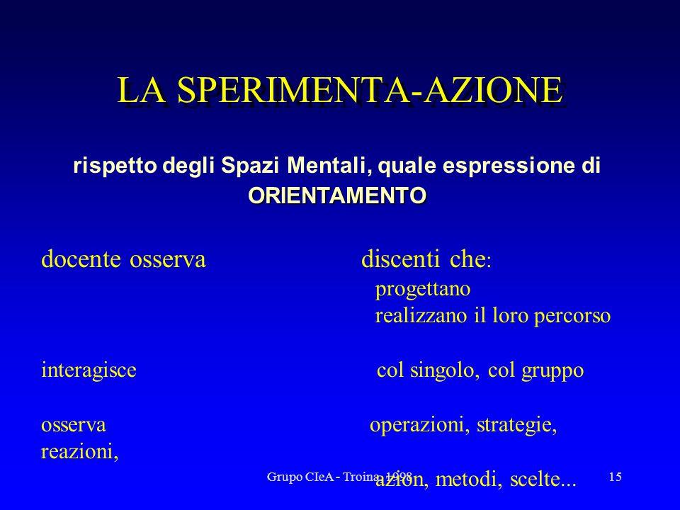Grupo CIeA - Troina, 199815 LA SPERIMENTA-AZIONE ORIENTAMENTO rispetto degli Spazi Mentali, quale espressione di ORIENTAMENTO docente osserva discenti