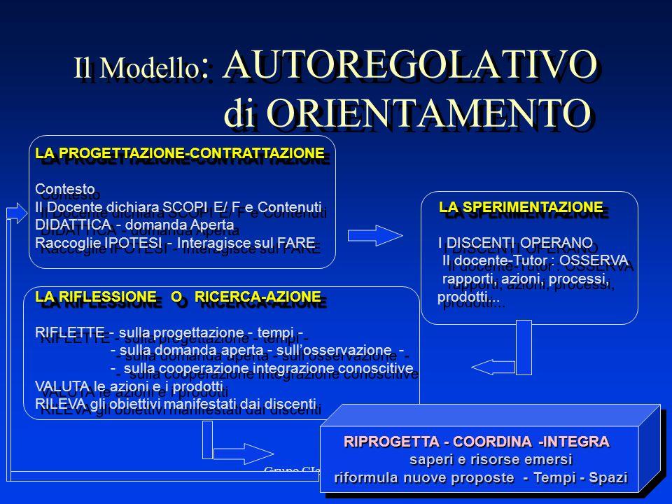 Grupo CIeA - Troina, 199817 Il Modello : AUTOREGOLATIVO di ORIENTAMENTO LA PROGETTAZIONE-CONTRATTAZIONE Contesto LA SPERIMENTAZIONE Il Docente dichiar