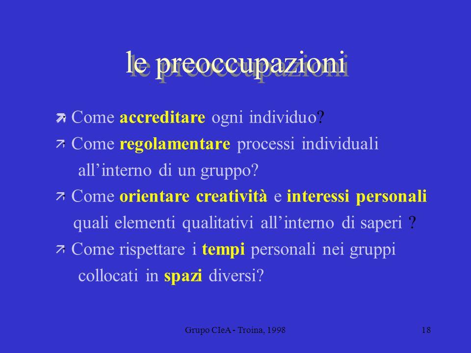 Grupo CIeA - Troina, 199818 le preoccupazioni ä · ä · Come accreditare ogni individuo? ä · Come regolamentare processi individuali allinterno di un gr